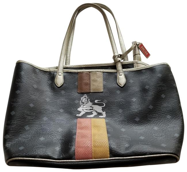Item - Black and Silver Multi Leather Tote