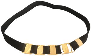 Salvatore Ferragamo Women's black and Gold Belt. Large