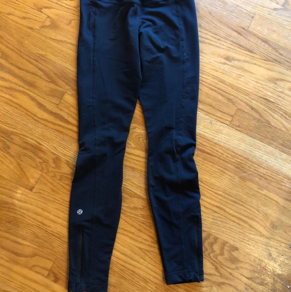 96d6b77b51 Lululemon Black Brushed Cold Weather Run Activewear Bottoms Size 4 ...