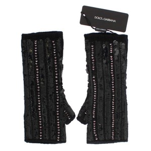 Dolce&Gabbana D66-1 Black Knitted Cashmere Sequined Gloves (Small)