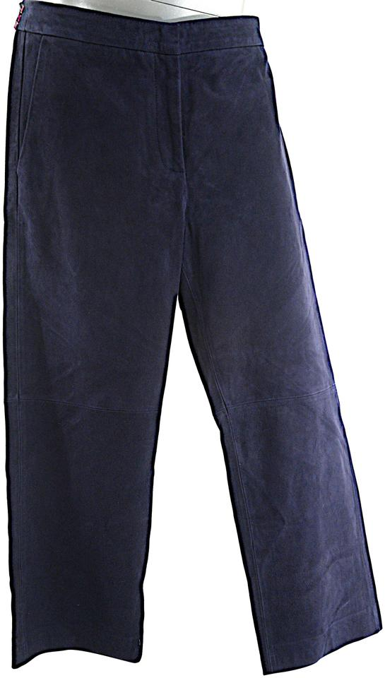 3b7954289952 J.Crew Navy Softest Suede Clean Front Straight Leg Crop Pants Size ...
