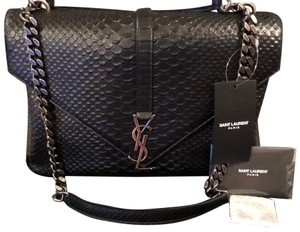 Saint Laurent Snake Leather Ysl Monogram Cross Body Bag