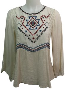 Flying Tomato Boho Flare Sleeves Embroidery Lace Top Off White, Red & Blue