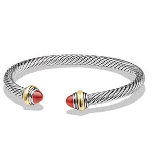 David Yurman David Yurman Never Worn 14k and Sterling Silver Carnelian Cable Bangle 14k Yellow Gold and Sterling Silver Beautiful carnelian is at each end of the bracelet 5mm Small 100% Authentic Guaranteed Comes inside original David Yurman pouch!