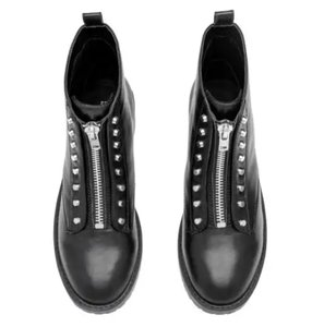 H&M Combat Moto Motorcycle Ankle Black Boots
