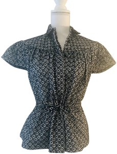 ALAÏA Peplum Made In Italy Button Down Shirt Black and White