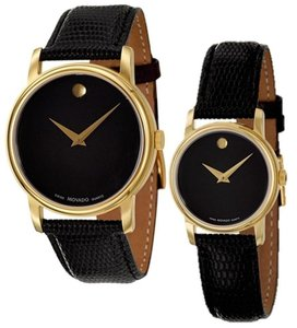 Movado Gold Black Museum Dial 26mm Womens 2100006 Swiss Made Watch