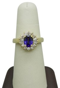 LeVian LE VIAN CENTRAL TANZANITE & DIAMONDS 18K YELLOW GOLD RING