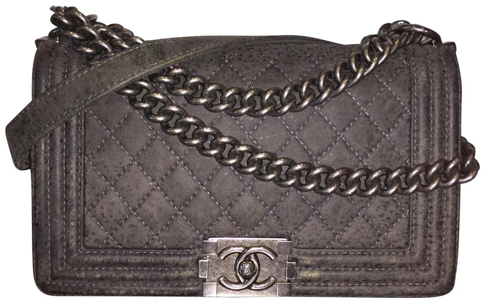 081d1841ee262e Chanel Boy Medium Flap Distressed Quilted Ruthenium Gunmetal ...