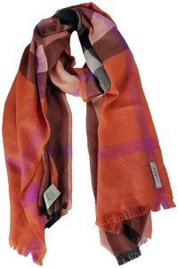 Burberry NWT BURBERRY LARGE SILK CAHSMERE CHECK SCARF WRAP MADE IN ITALY