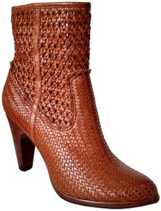 Frye Basket Weave Saddle Brown Chunky Heel Leather Whiskey Boots