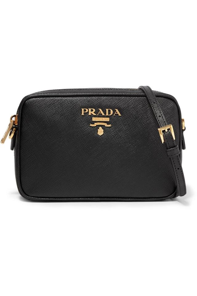 9459598f88eff Prada Camera Textured-leather Shoulder Black Leather Cross Body Bag ...