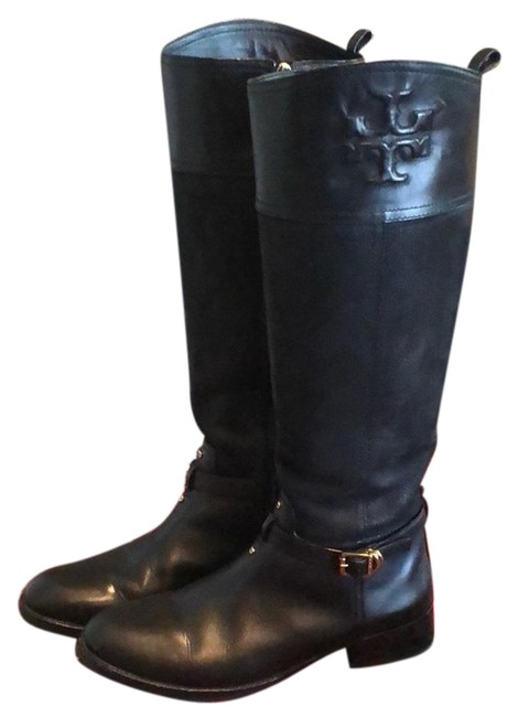 Item - Black Leather Suede Simone Embossed Logo Belted Riding Boots/Booties Size US 8.5 Regular (M, B)