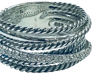 David Yurman RARE SIZE!!! David Yurman Crossover Wide Cable Pave Diamond Ring Sterling Silver 0.18 carat Total Weight Pave Diamonds 11mm Wide Size 9 100% Authentic Guaranteed!! Comes with Original David Yurman Pouch!!