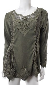 Pretty Angel Romantic Victorian Lace-up Top Green