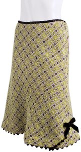 Sara Campbell Embroidery #ricrac Skirt Yellow Green
