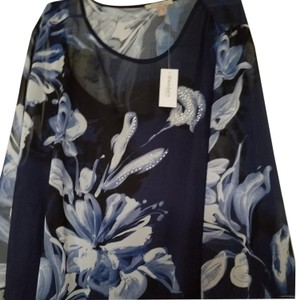 Roz & Ali New With Tags Xlarge Flower Top Blue and white