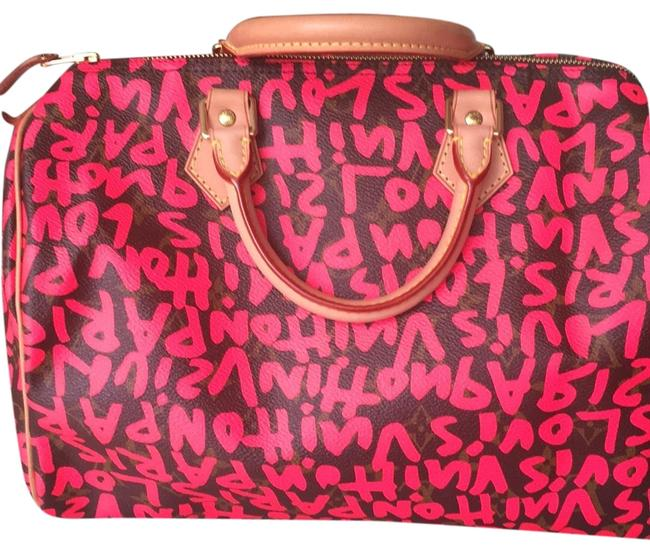 Item - Speedy Graffiti Boston Limited Edition with Coated Hot Pink On Classic Monogram Canvas Satchel