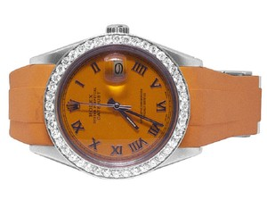 Rolex Mens Ladies Sporty Custom Datejust 36MM Rubber Band Roman Dial 2.5 Ct