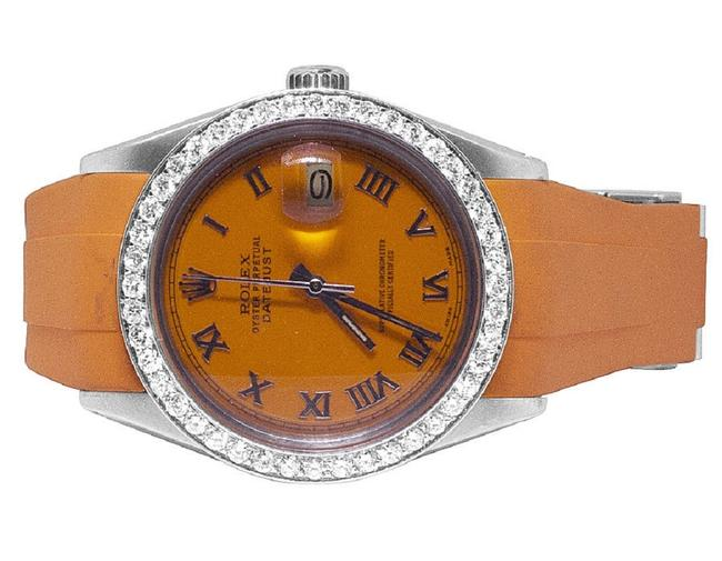 Item - Orange Roman Mens Ladies Sporty Custom Datejust 36mm Rubber Band Dial 2.5 Ct Watch