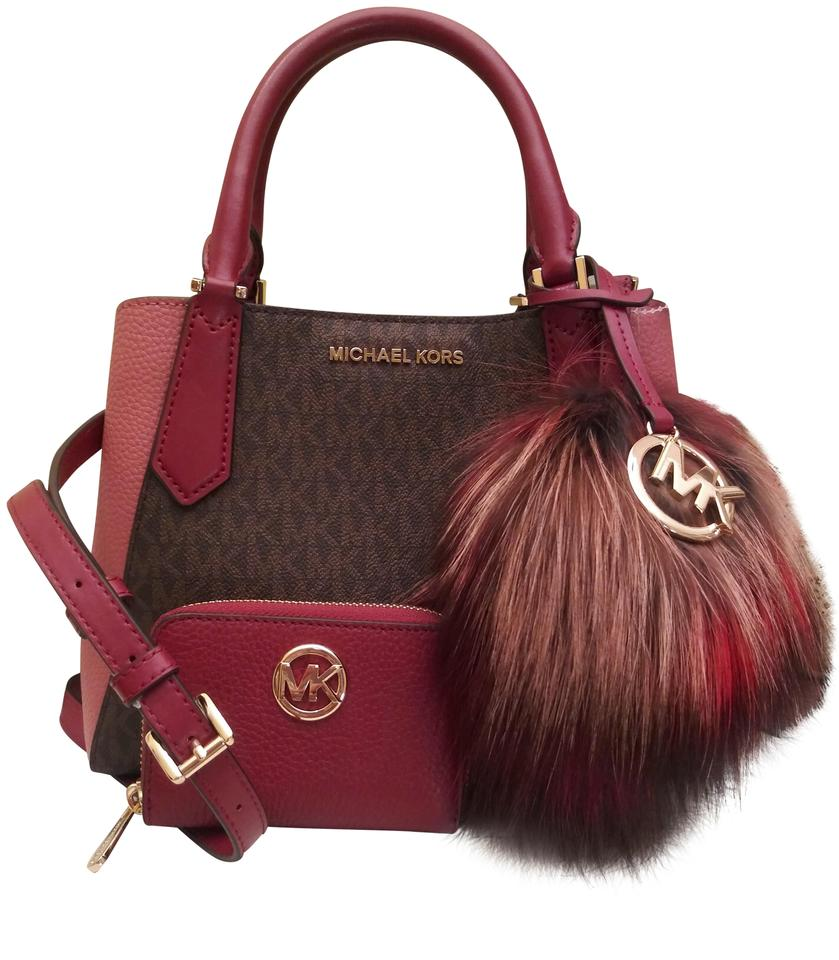 7e417ec240 Michael Kors Kimberly Small Colorblock with Fulton Zip Around Wallet and  Pom Pom Brown Leather Satchel