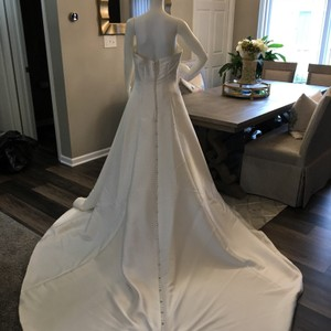 Alfred Angelo Diamond White Gown Formal Wedding Dress Size 10 (M)