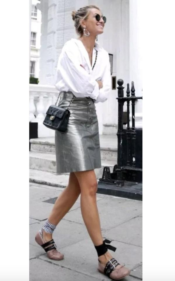 c02e522ce165 Zara Leather Metallic Buttoned Rare Mini Skirt silver Image 8. 123456789