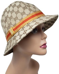 78d8cb858861 Gucci Gucci Guccissima Monogram Canvas Bucket Hat with Tan and Red Web Trim