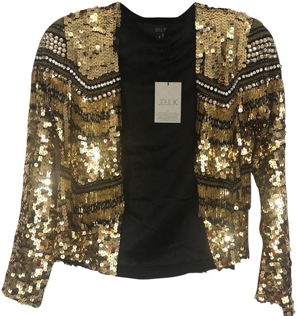 Item - Gold and Black Cowboy Jacket with Sequence Tassels Blazer Size 2 (XS)
