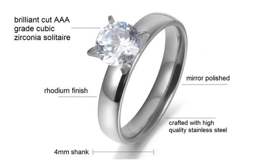 Other 1.50 CTW Brilliant Cut Solitaire Rhodium Plated Cubic Zirconia Ring Image 3