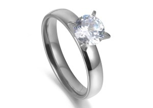 Other 1.50 CTW Brilliant Cut Solitaire Rhodium Plated Cubic Zirconia Ring