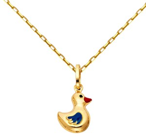 Top Gold & Diamond Jewelry 14k Yellow Gold Duck Enamel Pendant with 0.9mm Cable Chain - 16''
