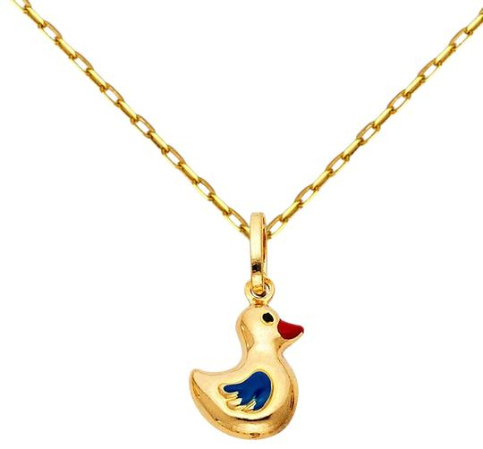 Preload https://img-static.tradesy.com/item/24176157/yellow-14k-duck-enamel-pendant-with-09mm-cable-chain-18-necklace-0-1-540-540.jpg