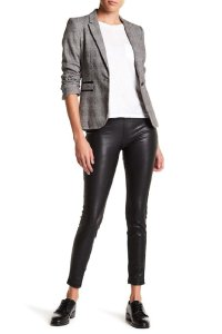 BlankNYC Stretch Faux Leather Pull On Jeggings-Dark Rinse