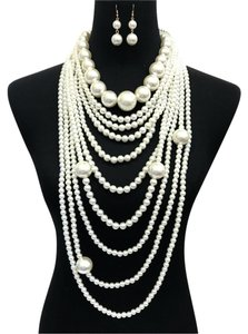 Other Long Multi Layered Cream Pearl Necklace And Earrings