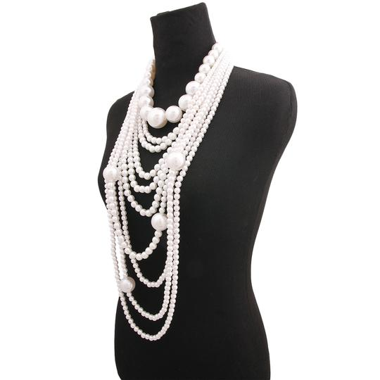 Other Long Multi Layered Cream Pearl Necklace And Earrings Image 2