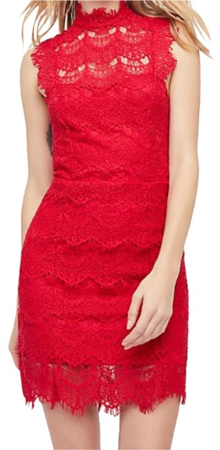 Free People Red Day Dream Slip Short Night Out Dress Size 8 (M) Free People Red Day Dream Slip Short Night Out Dress Size 8 (M) Image 1