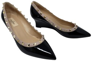 Valentino Rockstud Pointed Toe Gold Hardware Studded Patent Leather Black Wedges