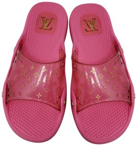 Louis Vuitton Pvc Gold Hardware Lv Perforated Jelly Pink Sandals