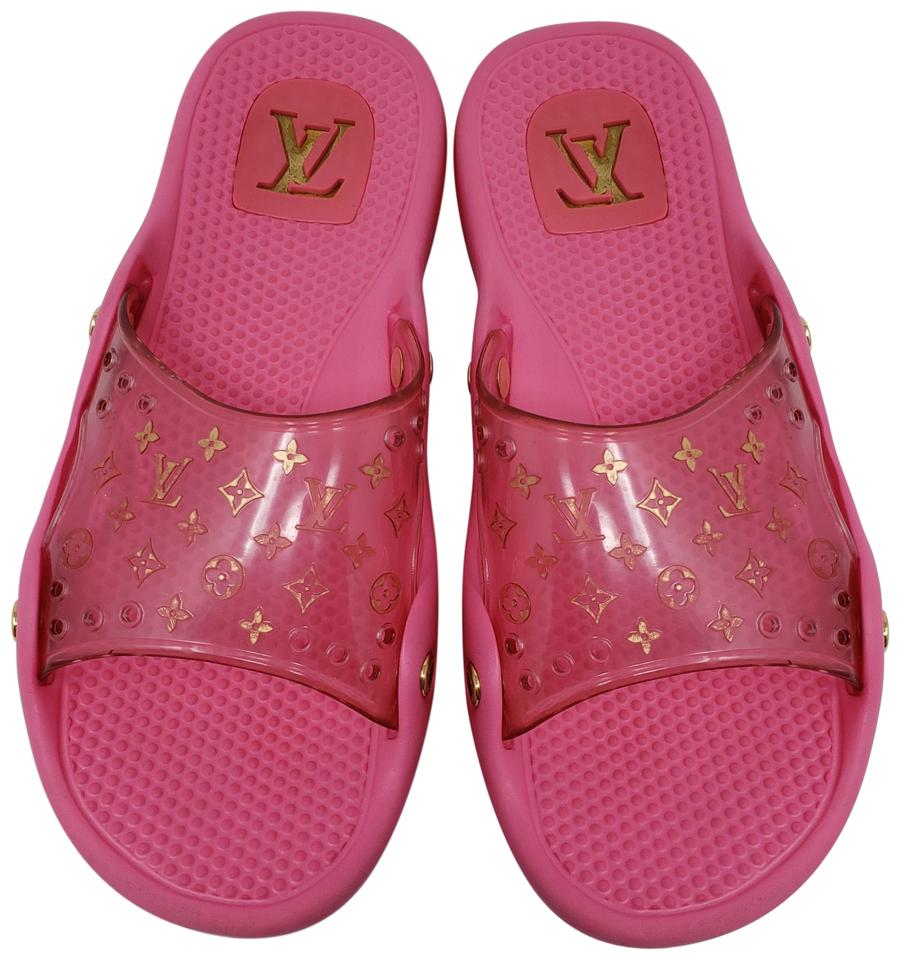 80390143c1c8 Louis Vuitton Pvc Gold Hardware Lv Perforated Jelly Pink Sandals Image 0 ...