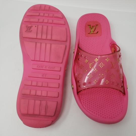 Louis Vuitton Pvc Gold Hardware Lv Perforated Jelly Pink Sandals Image 8