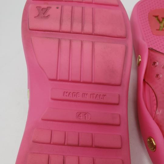 Louis Vuitton Pvc Gold Hardware Lv Perforated Jelly Pink Sandals Image 9