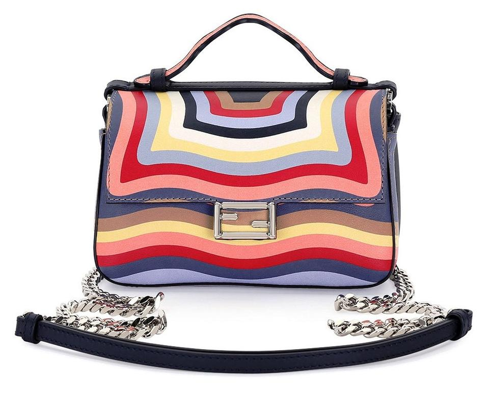 cd51a70668 Fendi Double Baguette Hypnotic Print Shoulder Black Multi Calfskin Leather  Cross Body Bag