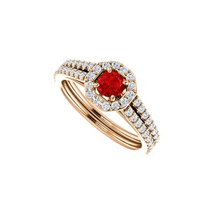 DesignByVeronica Unusual Beauty of Ruby and Double Row CZ Halo Ring Gold