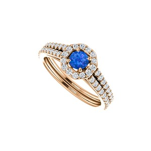 DesignByVeronica Sapphire CZ 14K White Gold Octagon Style Halo Ring