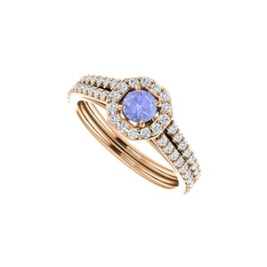 DesignByVeronica Tanzanite CZ 14K Rose Gold Octagon Style Halo Ring