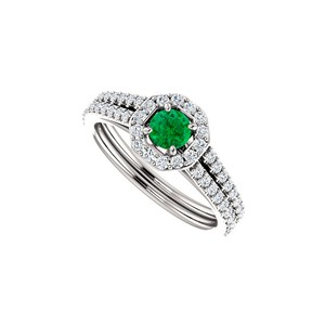 DesignByVeronica Striking Green Emerald and CZ Double Row Halo Ring