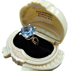 Modern Vintage 14k Solid Gold Blue Topaz Statement ring