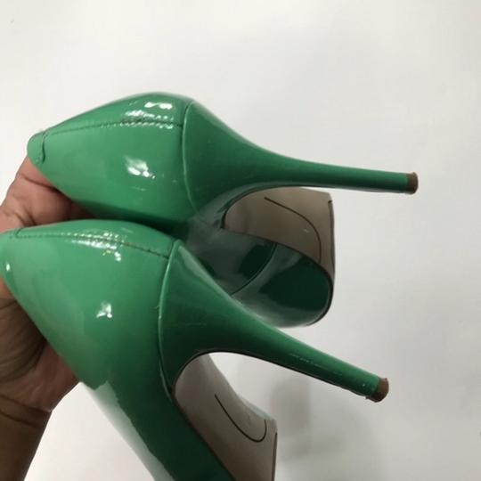 Nine West Patent Leather Green Pumps Image 5