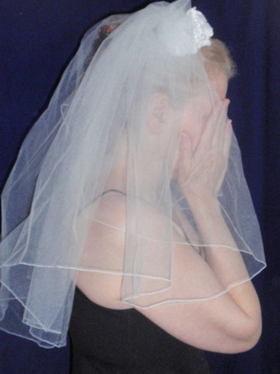 David's Bridal White Medium Shoulder Length Bridal Veil Image 6